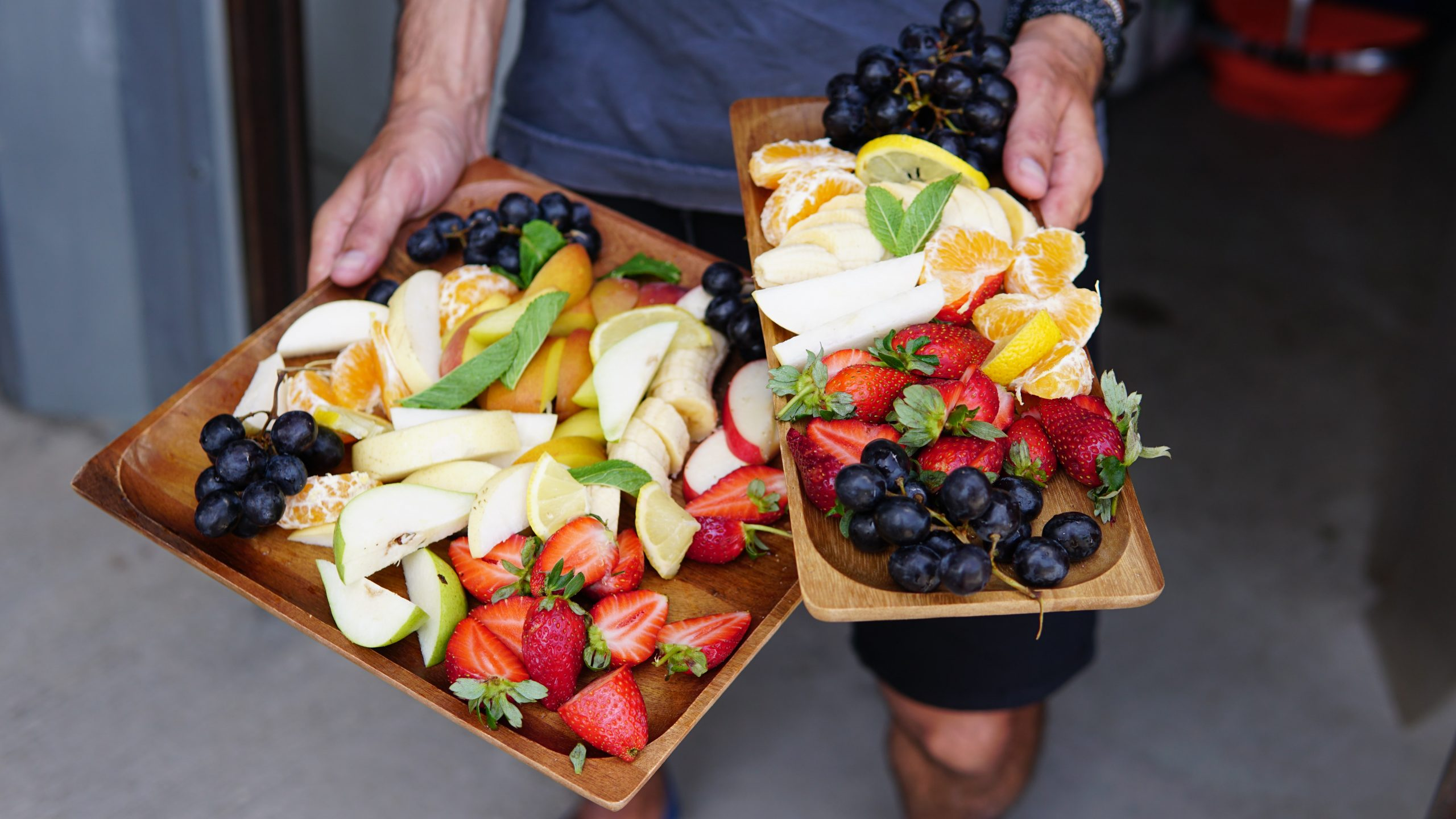 Platters of fresh fruit - pandemic food that ought to be pesticide-free