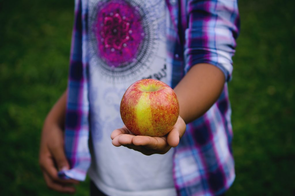 Boy holding apple - growing food helps children understand about healthy food choices.